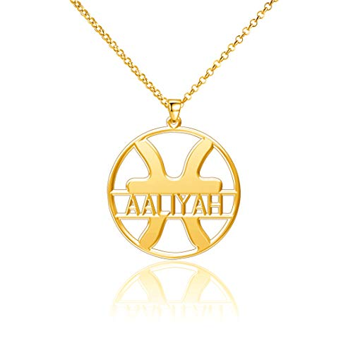 LoEnMe Jewelry Gold Plated Pisces Aaliyah Necklace Custom Any Name Personalized Women Hamsa Harry Law Customize