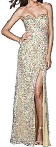 Butterfly Sexy Beading Sequins Slit Prom Dress(Light Golden,US4)