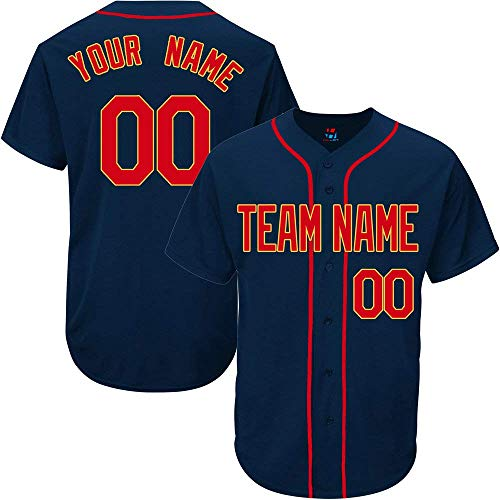 (SOOONG Navy Custom Baseball Jersey for Men Women Youth Throwback Embroidered Team Player Name & Numbers)