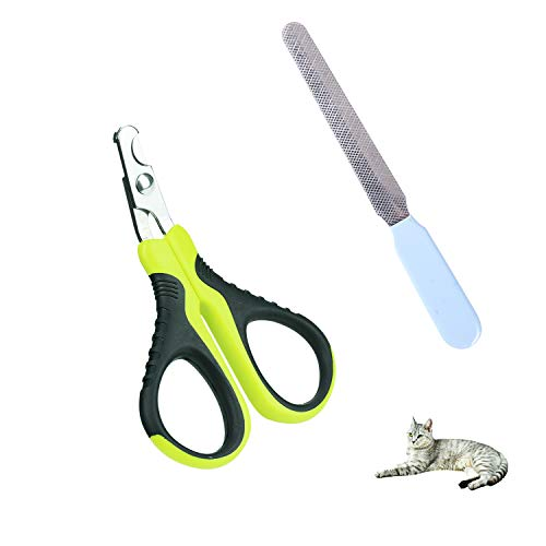 - ZUINIUBI Cat Nail Clippers - Curved Angled Blade Pet Nail Trimmer with Nail File -Easy to Grip & Safe Cat Claw Scissors Great Trimming Tool for Small Animal