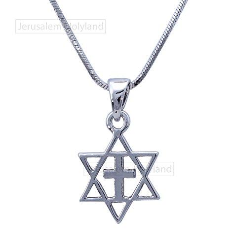 (FASHION Messianic Crucifix Unisex Star of David and CROSS Pendant Necklace Charm)