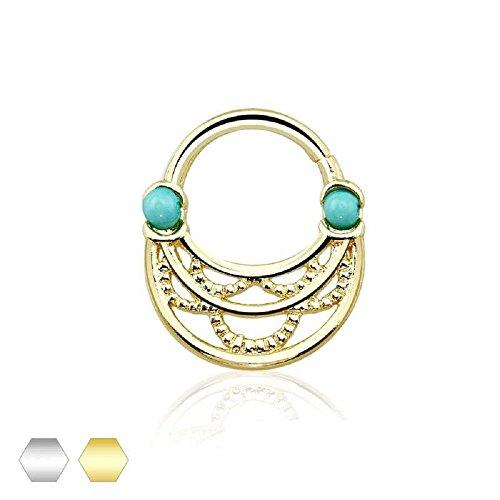 - Turquoise Bead Gold Plated Braid Designed Freedom Fashion Septum Ring (Rhodium)