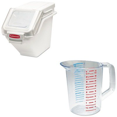 KITRCP3216CLERCP9G57WHI - Value Kit - White 100 Cup Safety Storage Bin with 2 Cup Scoop (RCP9G57WHI) and Rubbermaid-Clear Bouncer Measuring Cups 1 Quart ()