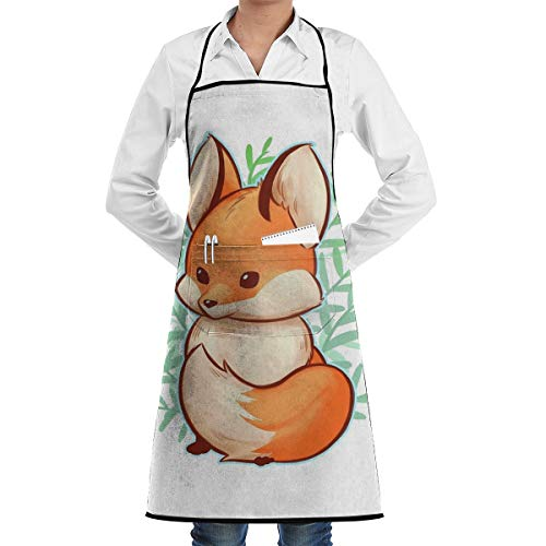 LALACO-Design Cute Small Fox Cooking Women Kicthen Bib Aprons with Pockets for Chef,Grandma Suitable for Baking,Grilling,Painting Even Fit for Arts,Holiday]()