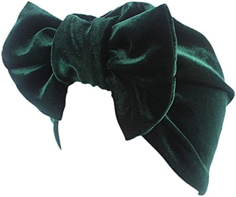 Head Wrap Scarf Velvet Bonnet Hat Chemo Turban Beanie Cap Big Bow Hijab