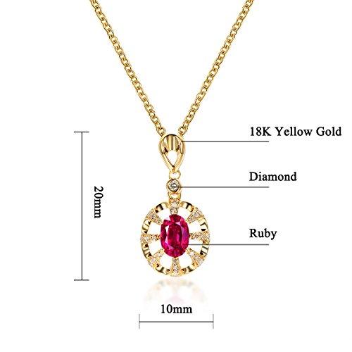 Hutang solide Or jaune 18ct 0,48CT véritable diamant et rubis Pierre précieuse Pendentif et collier pour femme fine Diamond-jewelry