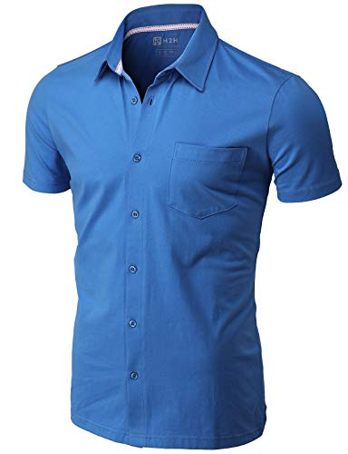 H2H Men's Casual Slim Fit Short Sleeve Jersey Button Down Shirt ULTRAMARINEBLUE US 3XL/Asia 4XL (CMTSTS044)