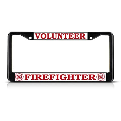 Amazon.com: VOLUNTEER FIREFIGHTER Black Heavy Duty Metal License ...