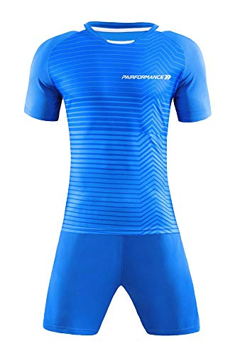 (PAIRFORMANCE Premium Soccer Uniforms for Kids, Sizes 4-12, Boys and Girls Sports Activewear Color Shirts and Shorts (Light Blue, Large))