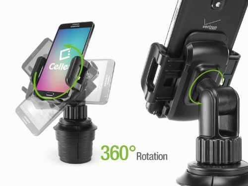 Cellet Universal Adjustable Automobile Extended Cup Holder Mount W For IPhones IPods Smartphones MP3 Players GPS Systems