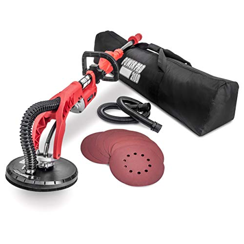 POWER-PRO 2100 Electric Drywall Sander - Variable Speed 1000-2100rpm, 710 Watts, Extendable Handle, Storage Bag, Sanding Discs Included (Best Sander For Plaster Walls)