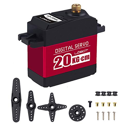 Mini Rc Servo - Hiwonder 20KG Digital Servo Full Metal Gear High Torque, Aluminium Case for Robot DIY (Control Angle 180)