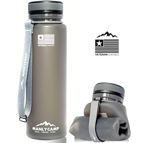 MANLYCAMP REAL. TOUGH. GEAR. Collapsible Water Bottle - 22 Oz - BPA Free Silicone - for Hiking, Camping, Gym, Military & Travel
