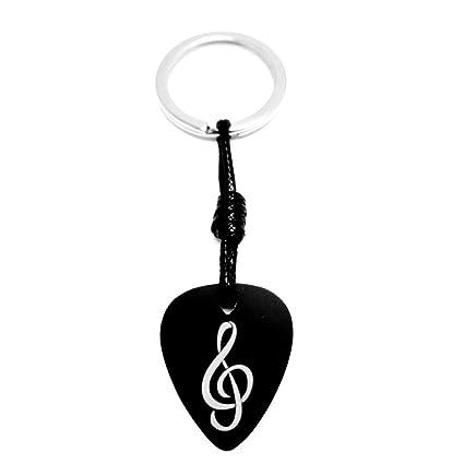 Llavero Púa Guitarra Aluminio Anodizado Negro con GRABADO Clave Sol