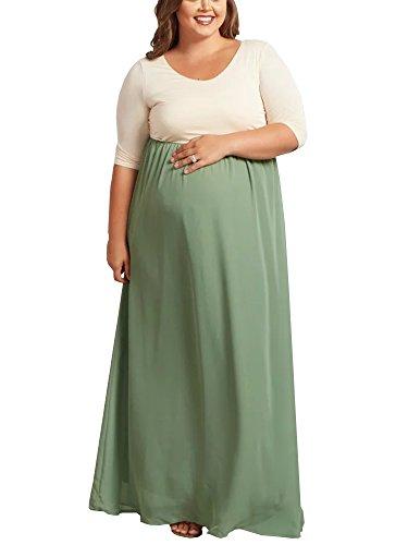 Ivay Women's Maternity Maxi Dresses Plus Size Color Block Long Dress by Ivay
