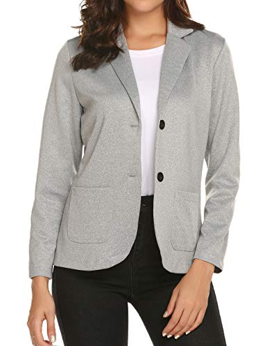 Womens Casual Work Clothes 2 Button Blazers Office Petite Gray Outfit Jacket Suit Gray XL