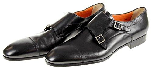 Santoni Upton Double Sangle Chaussures Monk Taille 13 D Noir Nouveau