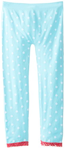 One Step Up Big Girls' Seamless Legging with Lace Trim, Aqua Cone, One Size