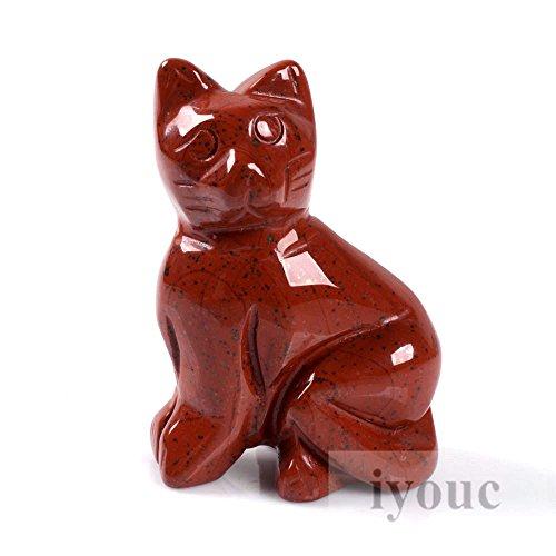 40mm Hand Carved Flame Jasper Gemstone Cat Figurine Statue Stone Carving 1.6
