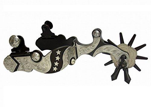 (AJ Tack Wholesale Western Show Spurs Silver Stars Engraving Jingle Bobs Chap Guard Mens Size)