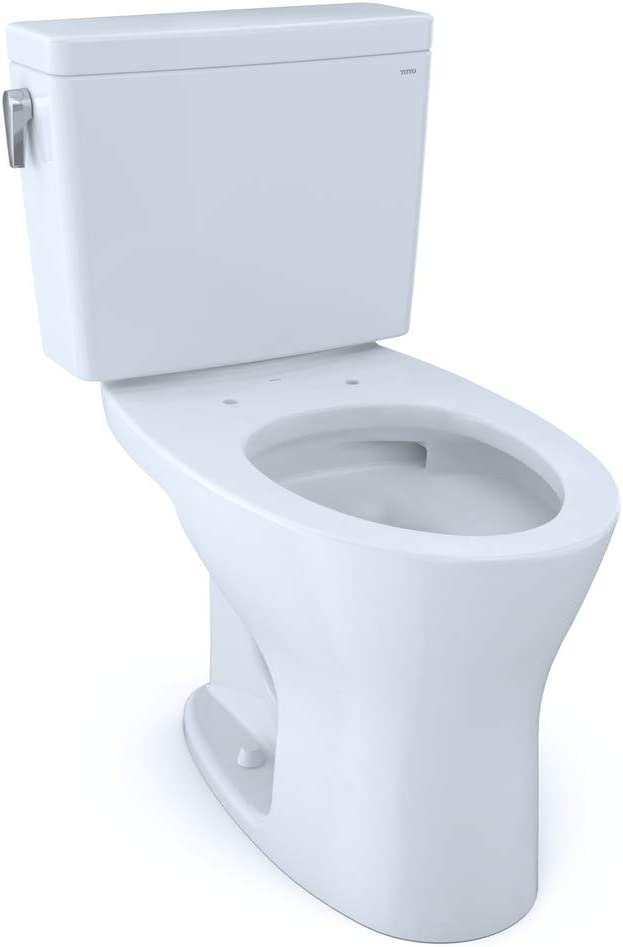TOTO CST746CEMG#01 Drake Two-Piece Elongated Dual Flush 1.28 and 0.8 GPF DYNAMAX TORNADO FLUSH Toilet with CEFIONTECT, Cotton White - -
