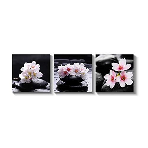 Zen Magnolia - Nature Artwork Wall Decor Picture - Zen Stones & Orchids Graphic Art on Canvas Set