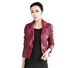 Women's Punk Rock Coat Slim Fit Motorcycle Biker PU Leather Jacket