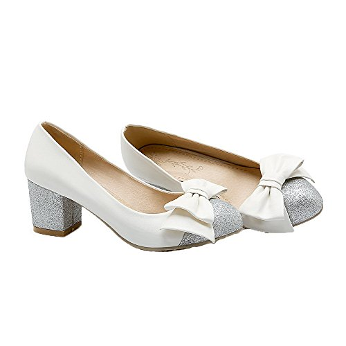 VogueZone009 Women's Assorted Color Kitten-Heels Pull-On Round-Toe Pumps-Shoes White DOmALn