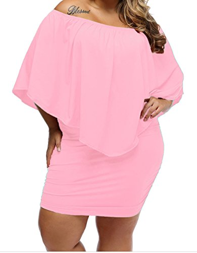 YeeATZ Womens Pink Sexy Plus Size Lace Multiple Dressing Layered Pink Mini - Orchard Mall Shopping