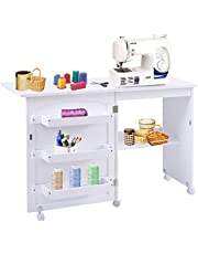 """DORTALA Folding Sewing Table, Wood Sewing Craft Table with Open Storage Shelves and Lockable Casters, Space-Saving Craft Table Cart for Apartment, Living Room, 46""""x16""""x31''"""