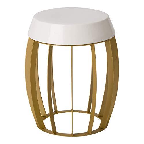 Emissary Home & Garden 2521GD/WT Stool/Table, Gold/White