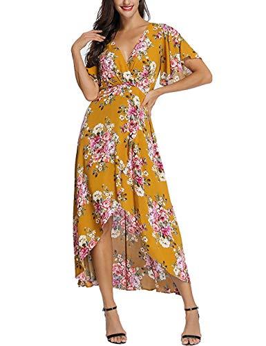 (monochef Wrap Maxi Dress Short Sleeve V Neck Floral Flowy Front Slit High Low Women Summer Beach Party Wedding Dress)