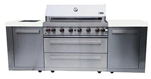 Mont Alpi MAI805 44″ Outdoor Barbeque Island, 47.00 x 20.00 x 93.00 inches Stainless Steel