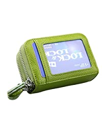 Credit Card Holder Fmeida RFID Blocking Card Case Leather Wallet for Women(Light Green)