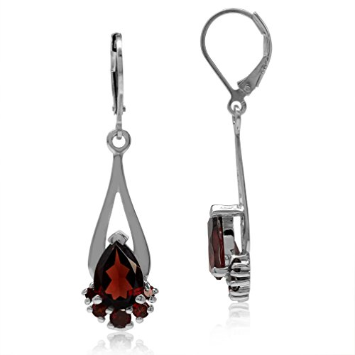 (4.38ct. Natural Pear Garnet White Gold Plated 925 Sterling Silver Drop Dangle Leverback Earrings)