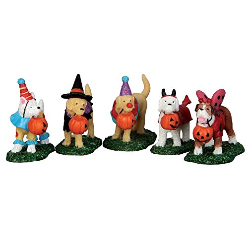 Lemax Spooky Town Trick Or Treating Dogs Set of 5 # 52301
