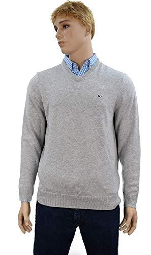 Vineyard Vines Men's Cotton 1/4 Zip Solid Sweater - Deep Bay Blue (Small, V-Neck Cashmere/Light Heather Gray) ()