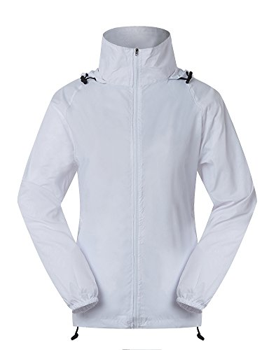 Cheering Spmor Women's Lightweight Jackets Waterproof Windbreaker Jacket UV Protect Running Coat S White