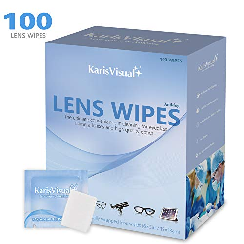 Optical Lens Cleaning Wipes Pre-moistened Non-Scratching Eyeglasses Cleaning Wipes for Camera Goggles Mobile Phone Tablets 100 Individually Wrapped