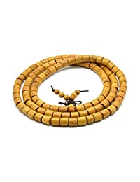 Zen Dear Natural Golden Sandalwood Mexican Bocote Mala Prayer Bracelet Link Wrist Necklace Beads