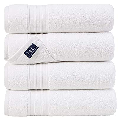 Hammam Linen 100% Cotton 27x54 4 Piece Set Bath Towels White Super Soft, Fluffy, and Absorbent, Premium Quality Perfect for Daily Use 100% Cotton Towels - DRY OFF IN LUXURY 4-Piece super soft and absorbent extra large Turkish cotton bath towels. (27 x 54 inches) These absorbent, eco-friendly hand towels are created to provide years of enjoyment LIGHTWEIGHT LASTING PRIME QUALITY - 100% soft cotton ring for ultimate softness. The hotel quality towel is lightweight and durable, quick dry and 100% cotton is resistant to wear while remaining soft. Luxurious white classic bath towels provide a luxurious bathroom design to enhance your bathing design. Soft, super absorbent, double-stitched edges on all edges for extended life EASY TO CARE - Machine washable, easy to care and clean. These towels are specially processed to make the dryer take less time, thus saving time and energy costs. They flow completely out of the dryer, soft and fluffy for the next time - bathroom-linens, bathroom, bath-towels - 41xCl9SnpeL. SS400  -
