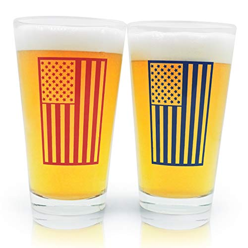 American Flag Pint Beer Glasses Gift Set | Perfect for Veterans, Father's Day, 4th of July, or Birthday Present for Dad.]()
