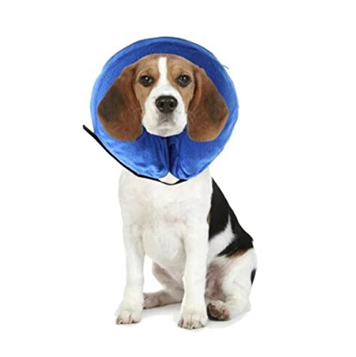 Collar Bite Not (Pet Protective E-Collar for Dogs and Cats - Comfortable Recovery Collar is Inflatable and Does Not Block Vision (NECK CIR 6
