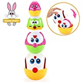 VATOS Nesting Easter Plastic Eggs Toy, Eggs Stacking Toy, Stacker Toys for 18 Months+ Baby Infant Toddler, Educational Toys for 1.5+ Years old Girl and Boys, Cute Chicken Family Style Baby Toddler Toy