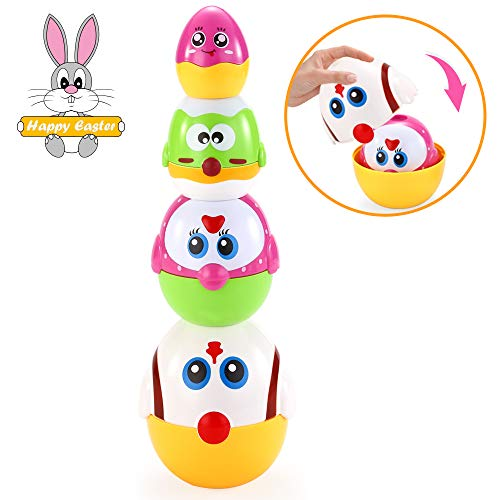 VATOS Nesting Easter Plastic Eggs Toy, Eggs Stacking Toy, Stacker Toys for 18 Months+ Baby Infant Toddler, Educational Toys for 1.5+ Years old Girl and Boys, Cute Chicken Family Style Baby Toddler Toy by VATOS (Image #9)