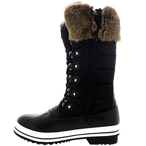 Damen Nylon Warm Side Zip Pelz Ente Dreck Schnüren Regen Winter Schnee Stiefel Schwarz