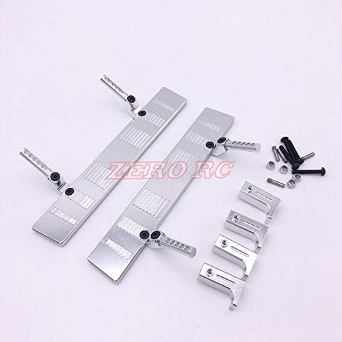 ShineBear 1/10 RC Truck Side Step AXIAL SCX10 Jeep Wrangler Honcho Aluminum Side Step Rock Sliders Silver