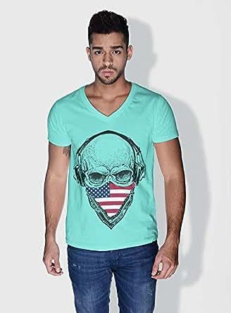 Creo Usa Skull T-Shirts For Men - Xl, Green