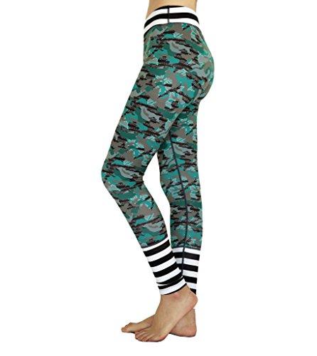 ZOANO Women's Exercising Printed Leggings Yoga Pants Camo (Striped Yoga)