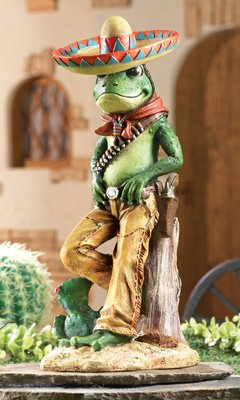 Colorful Frog Bandito Hand-Painted Garden Sculpture - Decorative Outdoor Accent, Green